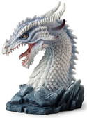 Horned Azure Dragon Bust Statue