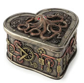 Steampunk Octopus Heart Shaped Trinket Box