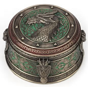 Celtic Dragon Crest Round Trinket Box- Green