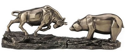 Bull and Bear Standoff Statue Set