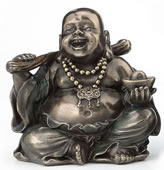 Laughing Buddha (Budai) Figurine - Holding Yuanbao And Ruyi