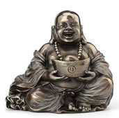 Laughing Buddha (Budai) Figurine - Holding Yuanbao With Two Hands