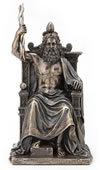 Zeus Holding Thunderbolt Sitting On Throne Statue