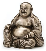 Laughing Buddha (Budai) Statue Holding Beads And Bag