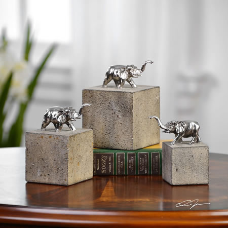 Tiberia Elephant Blocks Sculptures, Set of 3