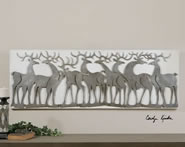 Herd Of Deer- Metal on Linen Wall Art