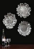 Silver Flowers Wall Art, Set of 3