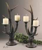 Stag Horn Candleholder, Set of 2
