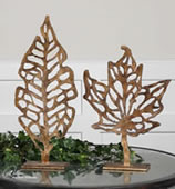 Hazuki Metal Leaf Sculptures, Set of 2