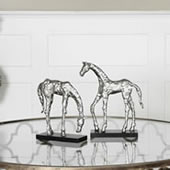 Let's Graze Contemporary Horse Statues, Set of 2