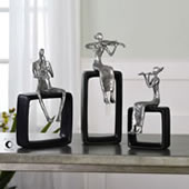 Modern Musical Ensemble Statues, Set of 3