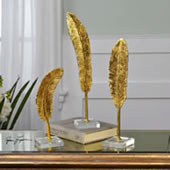 Gold Feathers Sculptures, Set of 3