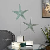 Marine Green Starfish Sculptures, Set of 2