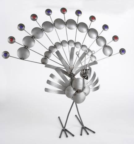 Metal Peacock with Marbles Sculpture