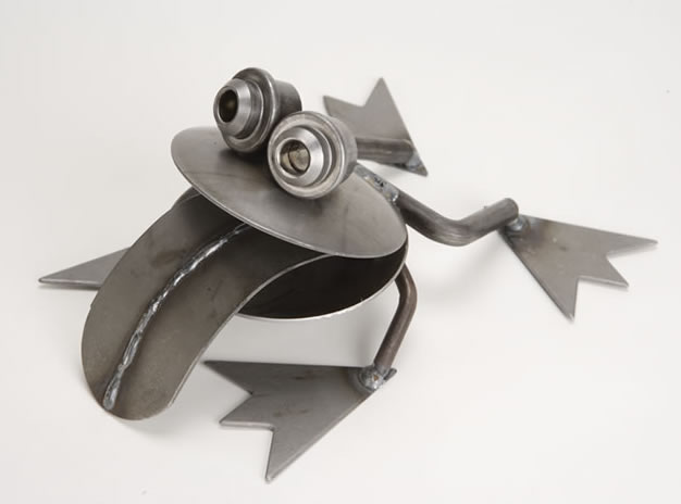 Big Mouth Frog Metal Sculpture