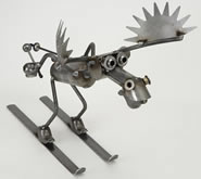 Metal Skiing Moose-Small