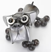 Tiny Boxer Metal Sculpture