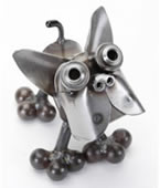 Metal Boston Terrier Dog Sculpture