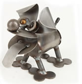 Tiny Happy Puppy- Metal Dog Sculpture