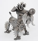 Metal Schnauzer Dog Sculpture