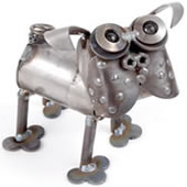 Mini Pug Metal Dog Statue