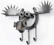 Metal Moose Key Holder with Hooks