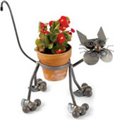 Metal Cat Flower Pot Holder